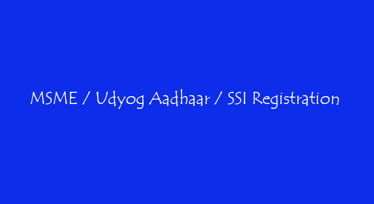 Udyog Aadhaar Registration Consultants in Vasanthnagar